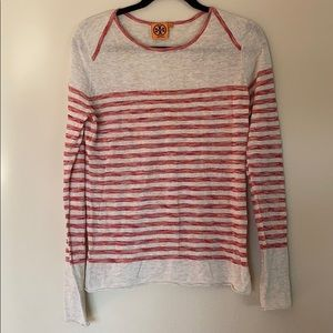Tory Burch gauze stripe light sweater EUC L